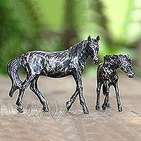 Wood statuettes, 'Horse and Foal' (pair) - Handmade Suar Wood Horse Statuettes (Pair)