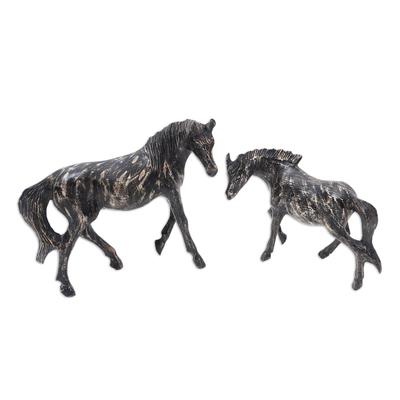 Handmade Suar Wood Horse Statuettes (Pair)