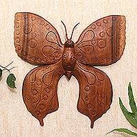 Wood relief panel, 'Enormous Butterfly' - Hand Carved Butterfly Suar Wood Relief Panel from Bali