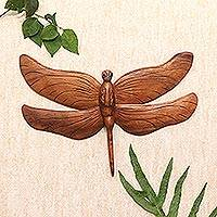 Wood relief panel, 'Gigantic Dragonfly'