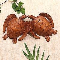 Wood relief panel, 'Turtle Duo' - Handmade Turtle Suar Wood Relief Panel from Bali