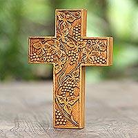 Wood wall cross, 'Grape Leaves' - Engraved Suar Wood Wall Cross from Bali