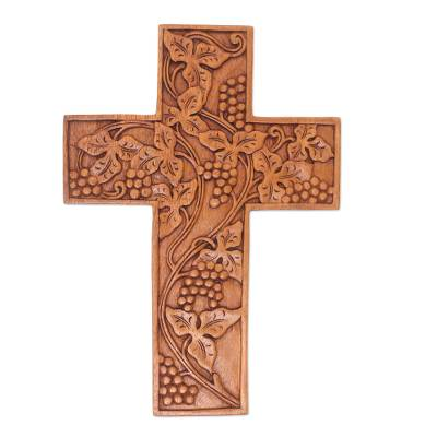 Engraved Suar Wood Wall Cross from Bali