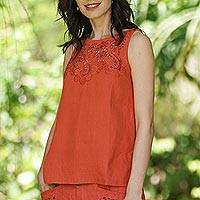 Embroidered linen blouse, 'Juicy Fruit' - Hand Embroidered Sleeveless Linen Blouse
