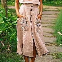 Embroidered linen skirt, 'Juicy Fruit in Natural' - Hand Embroidered Knee-Length Skirt