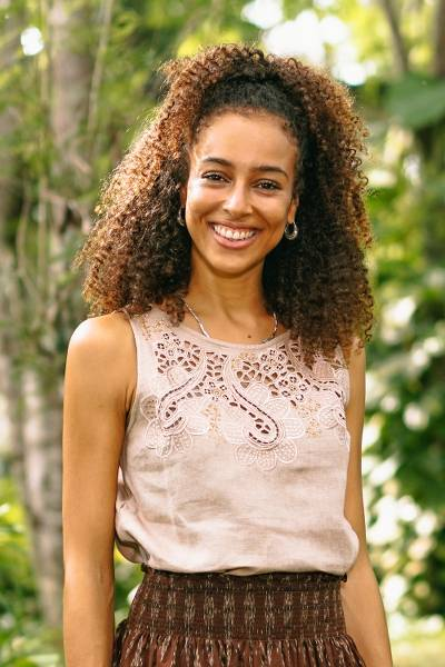 Embroidered linen top, 'Juicy Fruit in Natural' - Balinese Embroidered Linen Blouse