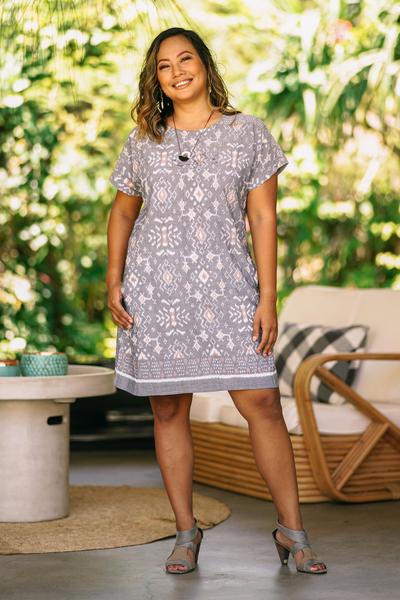 Short Cotton Ikat Dress in Grey