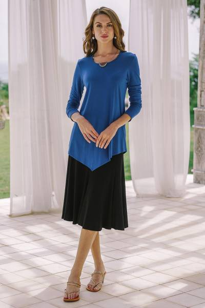 Everyday comfort modal top, 'Tulip' - Hand Crafted Asymmetrical Blue Modal Top
