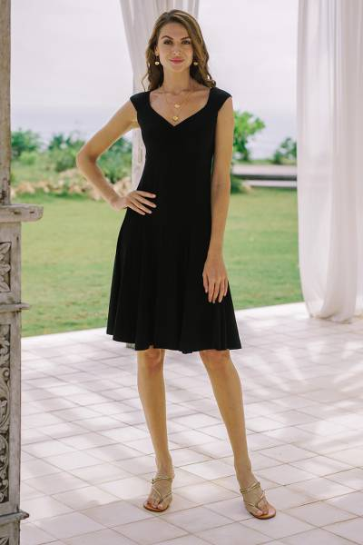 Everyday comfort modal dress, 'Classic style' - Artisan Crafted Little Black Modal Dress