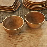 Teak wood bowls, 'Dinner Duo' (pair) - Hand Made Teak Wood Dinner Bowls from Bali (Pair)