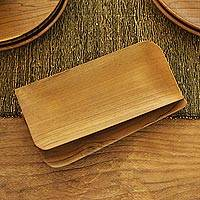 Teak wood sushi plates, 'Served Cold' (pair) - Handmade Rectangular Teak Wood Sushi Plates (Pair)
