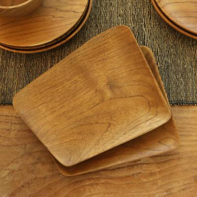 Teak wood sushi plates, 'Parallelogram Platter' (pair) - Hand Crafted Rectangular Teak Wood Sushi Plates (Pair)