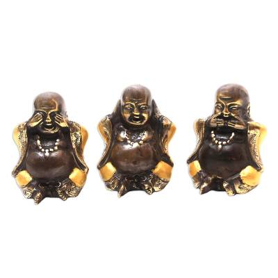 Hand Crafted Bronze Buddha Statuettes (Set of 3)