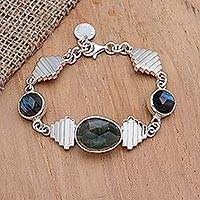 Labradorite and quartz pendant bracelet, 'Candi' - Labradorite and Quartz Pendant Bracelet from Bali