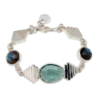 Labradorite and Quartz Pendant Bracelet from Bali
