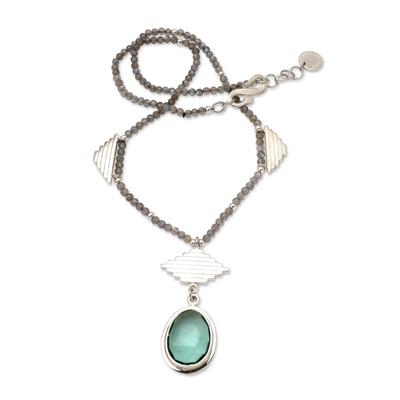 Handmade Labradorite and Quartz Pendant Necklace
