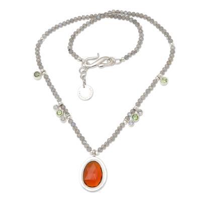 Labradorite and Citrine Beaded Pendant Necklace from Bali