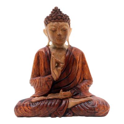 Wood statuette, 'Spiritual Teacher' - Hand Carved Suar Wood Buddha Statuette from Bali