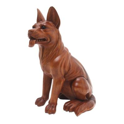 Hand Carved Suar Wood Dog Sculpture from Bali