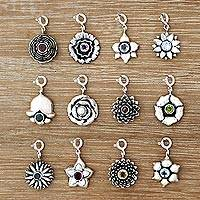 Birthstone flower bracelet charms, 'Birthday Flowers'