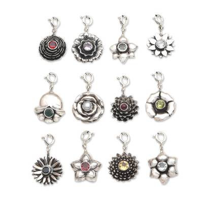 Birthstone flower bracelet charms, 'Birthday Flowers' - Hand Crafted Sterling Silver and Birthstone Flower Charms