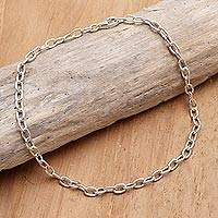 Sterling silver chain bracelet, 'For Your Birthday' - Hand Made Sterling Silver Chain Bracelet from Bali