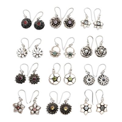 Birthstone flowers dangle earrings, 'Birthday Flowers' - Hand Crafted Birthstone Dangle Earrings from Bali