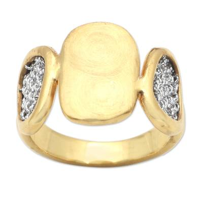 Handmade Gold-Plated Brass and Mesh Band Ring