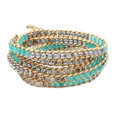 Hand Made Amazonite and Hematite Beaded Wrap Bracelet