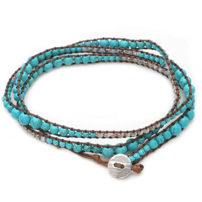 Crystal and Reconstituted Turquoise Beaded Wrap Bracelet
