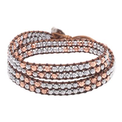 Artisan Crafted Hematite Beaded Wrap Bracelet