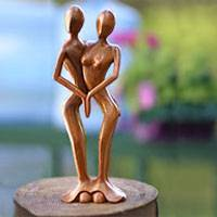 Wood sculpture, 'Lovers Dance' - Handmade Romantic Wood Sculpture