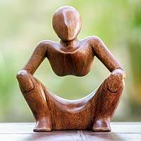 Wood sculpture, 'Abstract Sitting' - Thought and Meditation Wood Sculpture