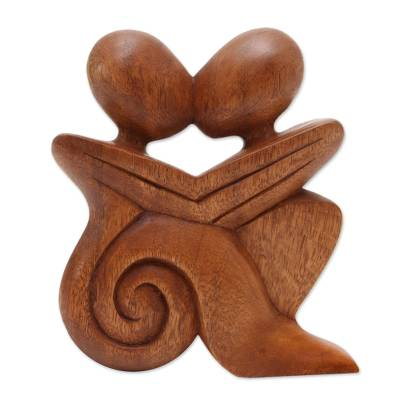 Wood statuette, 'Loving Embrace' - Romantic Wood Statuette