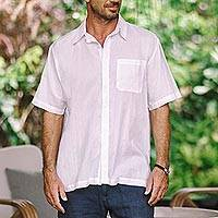 Men's embroidered cotton shirt, 'White Barong' - Men's White Embroidered Cotton Shirt