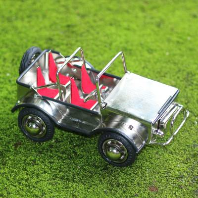 Recycled metal statuette, 'Off-Road Adventure' - Eco-Friendly Recycled Steel and Rubber Vehicle Statuette