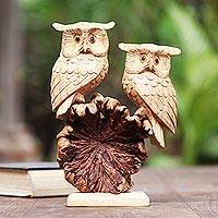 Wood sculpture, 'Romantic Owls' - Hand Carved Jempinis and Benalu Wood Owl Sculpture