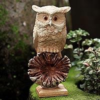 Wood sculpture, 'Looking Forward' - Hand Made Jempinis and Benalu Wood Owl Sculpture