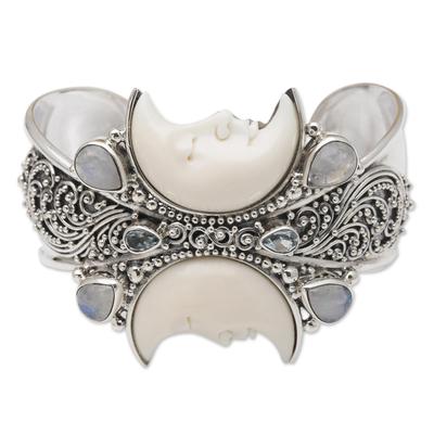 Rainbow moonstone and blue topaz cuff bracelet, 'Moon Duo' - Rainbow Moonstone and Blue Topaz Cuff Bracelet from Bali