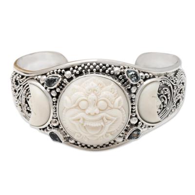 Blue topaz cuff bracelet, 'Barong Moon' - Hand Made Blue Topaz and Sterling Silver Cuff Bracelet