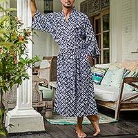 Batik rayon robe, 'Late Morning' - Handmade Batik Rayon Robe