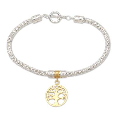 Gold-accented charm bracelet, 'Tall Tree in Gold' - Hand Made Gold-Plated Sterling Silver Charm Bracelet