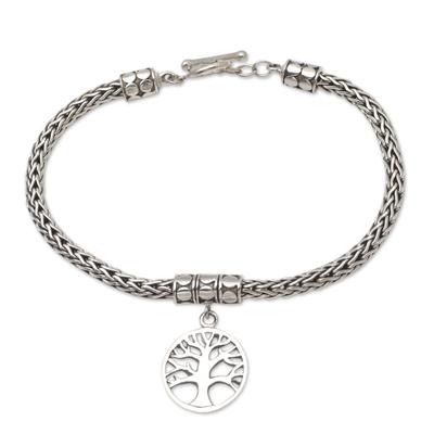 Sterling silver charm bracelet, 'Tall Tree in Silver' - Hand Crafted Sterling Silver Charm Bracelet from Bali