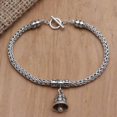 Sterling silver charm bracelet, 'Tiny Bell in Silver' - Handmade Sterling Silver Charm Bracelet from Bail