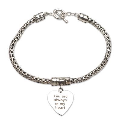 Sterling silver charm bracelet, 'Always in Silver' - Hand Made Sterling Silver Heart Charm Bracelet