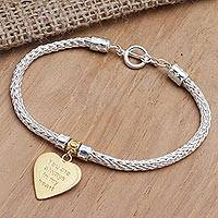 Gold-accented sterling silver charm bracelet, 'Always in Gold' - Gold-Plated Sterling Silver Heart Charm Bracelet