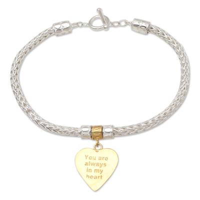 Gold-accented sterling silver charm bracelet, 'Always in Gold' - Gold-Plated Sterling Silver Heart Charm Bracelet