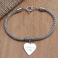 Sterling silver charm bracelet, 'Love for Mom in Silver' - Hand Crafted Sterling Silver Heart Charm Bracelet
