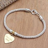 Gold-accented sterling silver charm bracelet, 'Love for Mom in Gold'