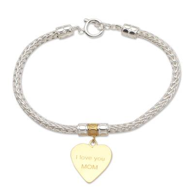 Gold-accented sterling silver charm bracelet, 'Love for Mom in Gold' - Gold-Plated Sterling Silver Heart Charm Bracelet from Bali
